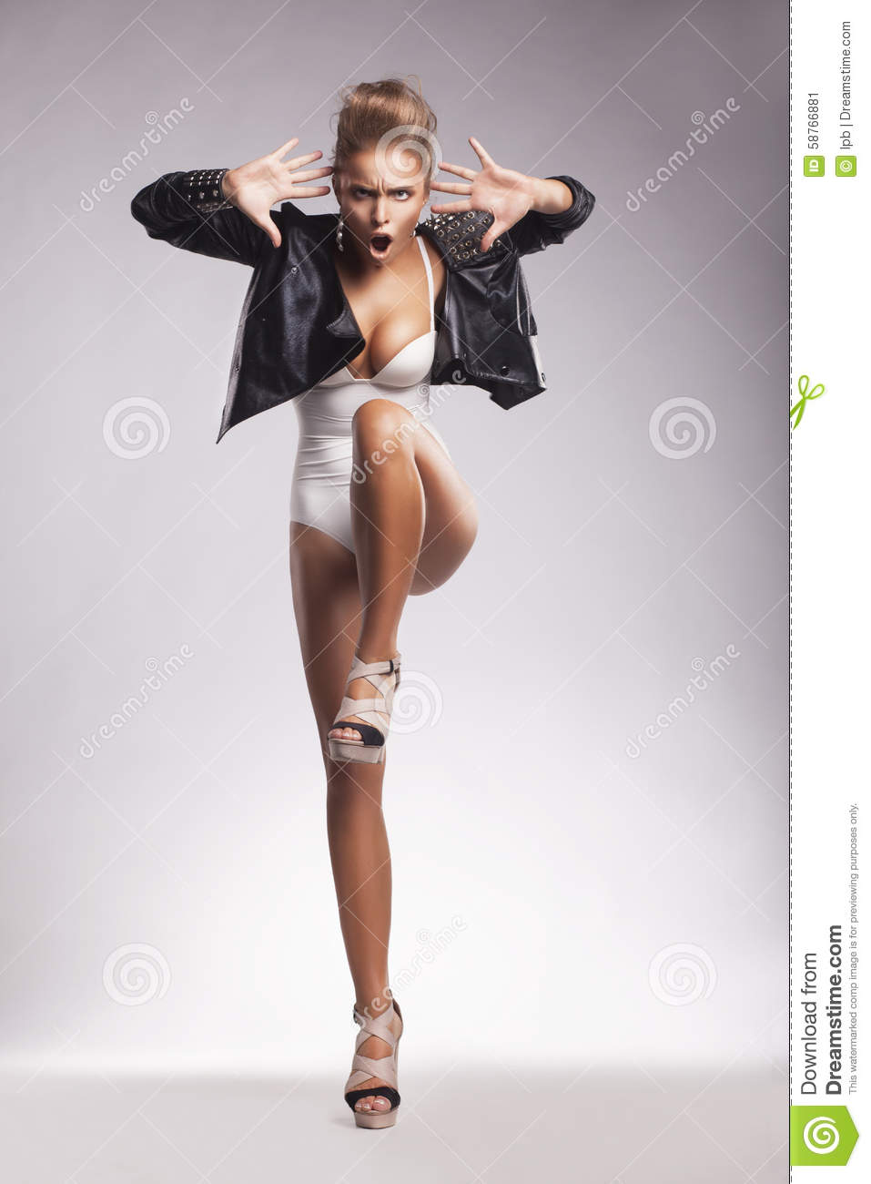 Download Night Club. Eccentric Young Woman Dancing Stock Image - Image of enthusiastic, beauty: 58766881