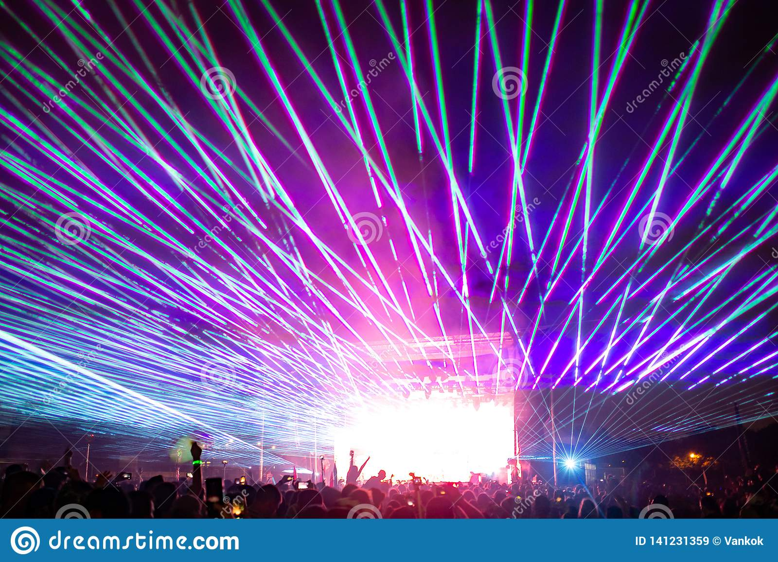 Night Concert Lights At The Festival With Lasers Stock ...