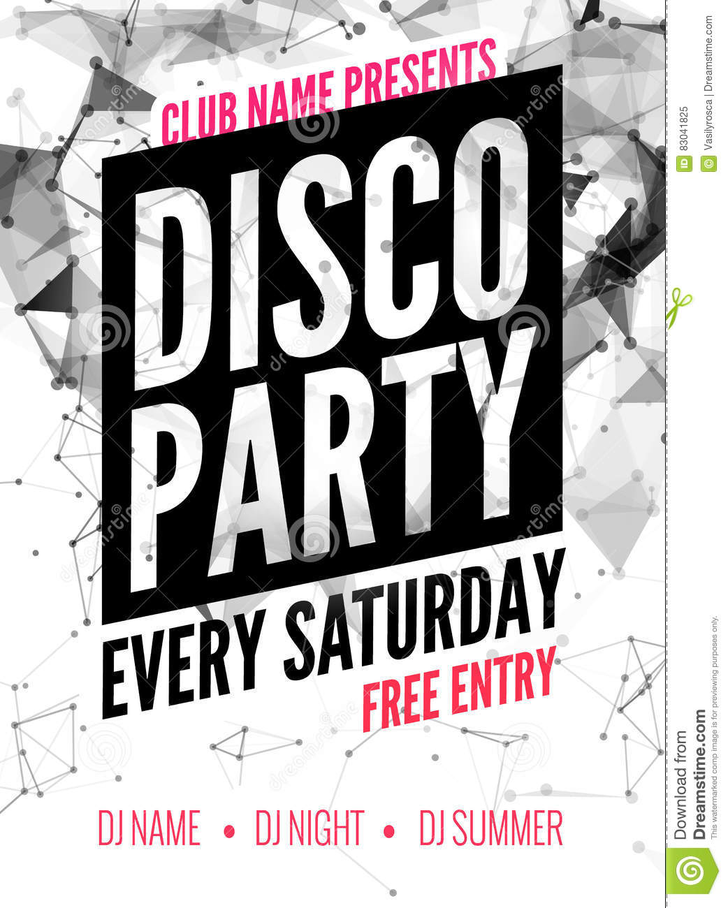 Night Dance Disco Party Design Template In Polygonal Style. Club ...