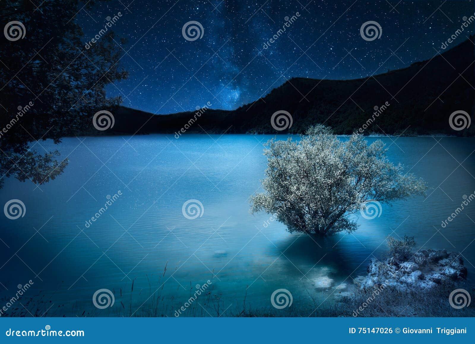 Night deep dark blue. Milky way stars over mountain lake. Magic