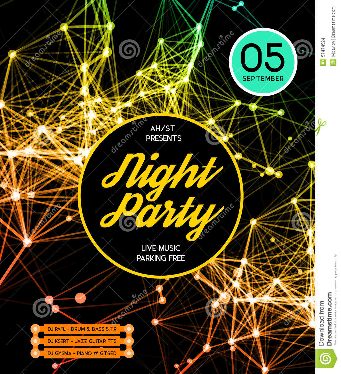 Night Disco Party Poster Background Stock Vector Image