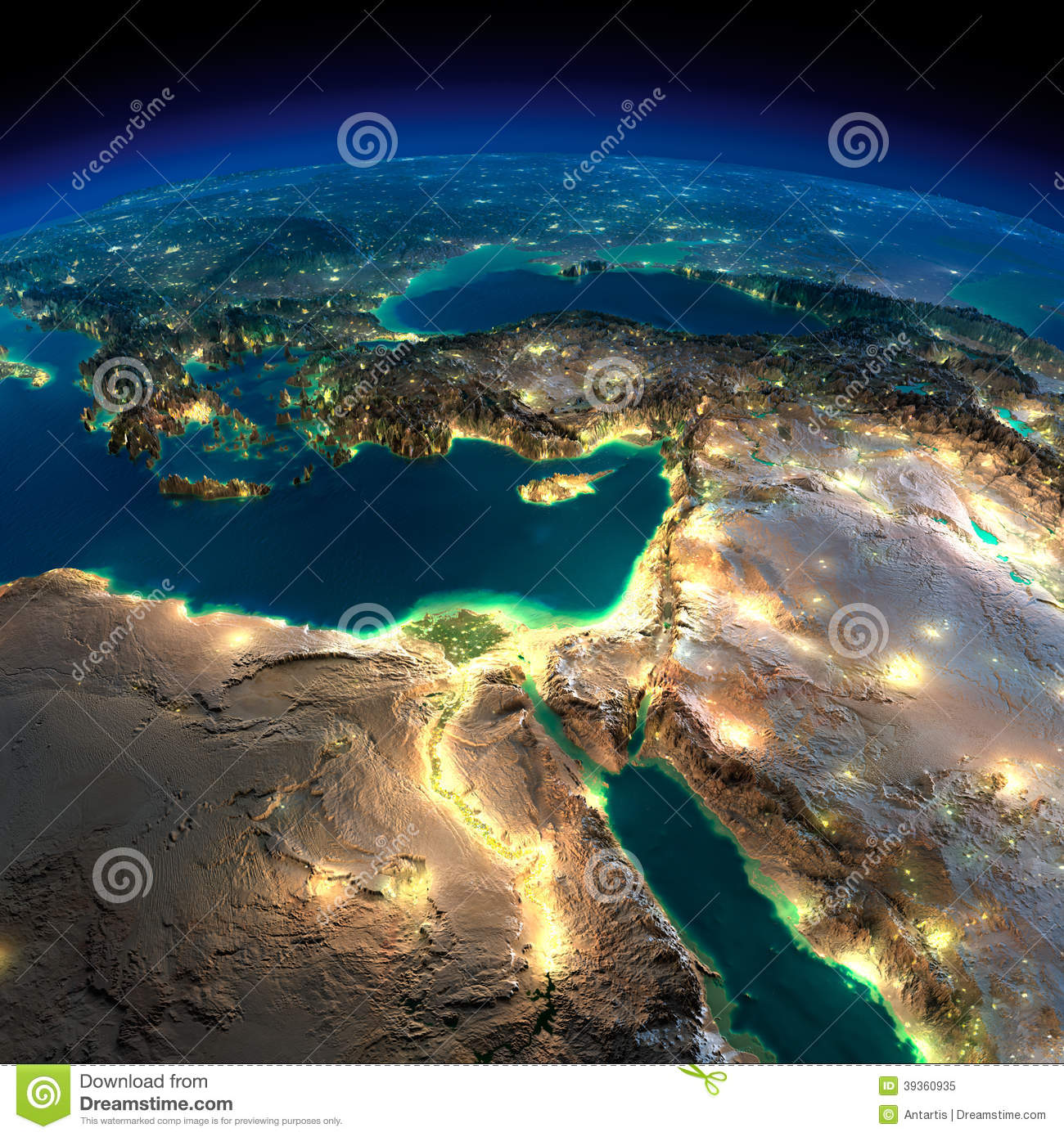 Night Earth Africa And Middle East Stock Illustration