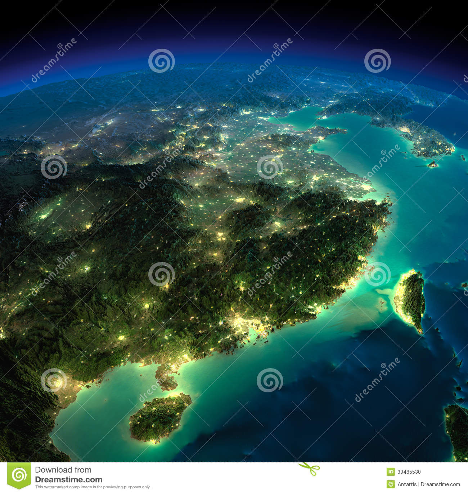 Night Earth Eastern China And Taiwan Stock Illustration