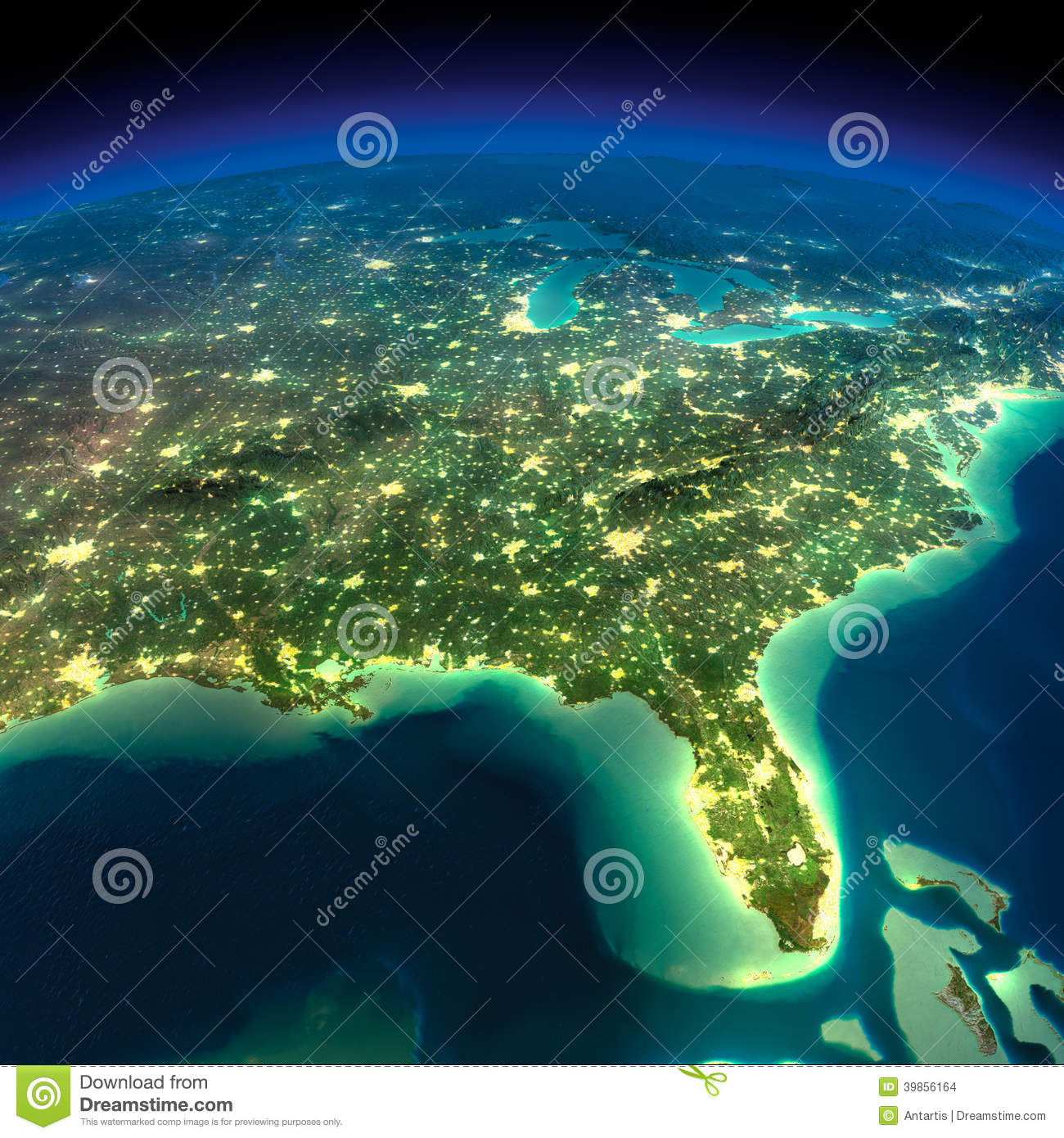 Night earth gulf of mexico and florida stock illustration night earth gulf of mexico and florida gumiabroncs Images