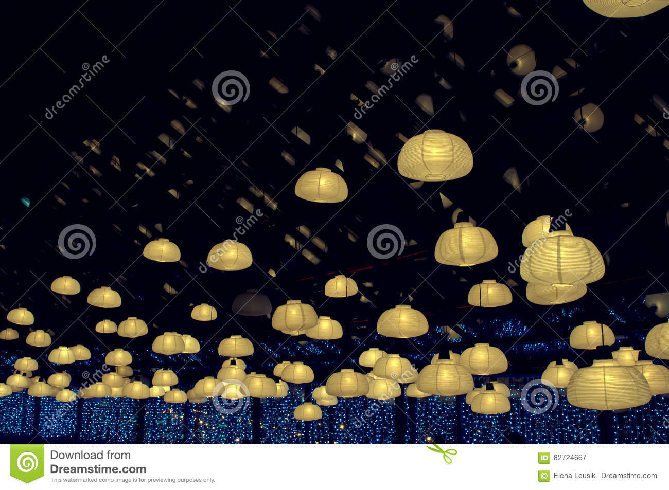 Night In Empty Caffee Or Coffee Shop Retro Light Bulb Lamp In The