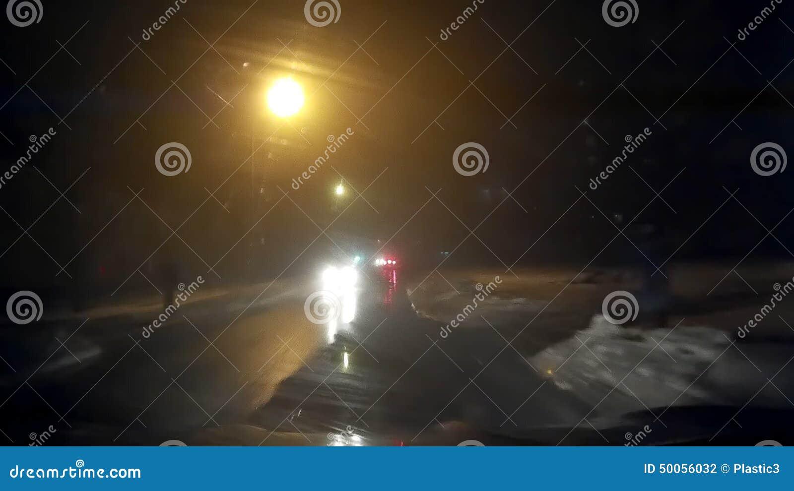Night Foggy Mist Car Road Hd 2 Stock Footage - Video of mist