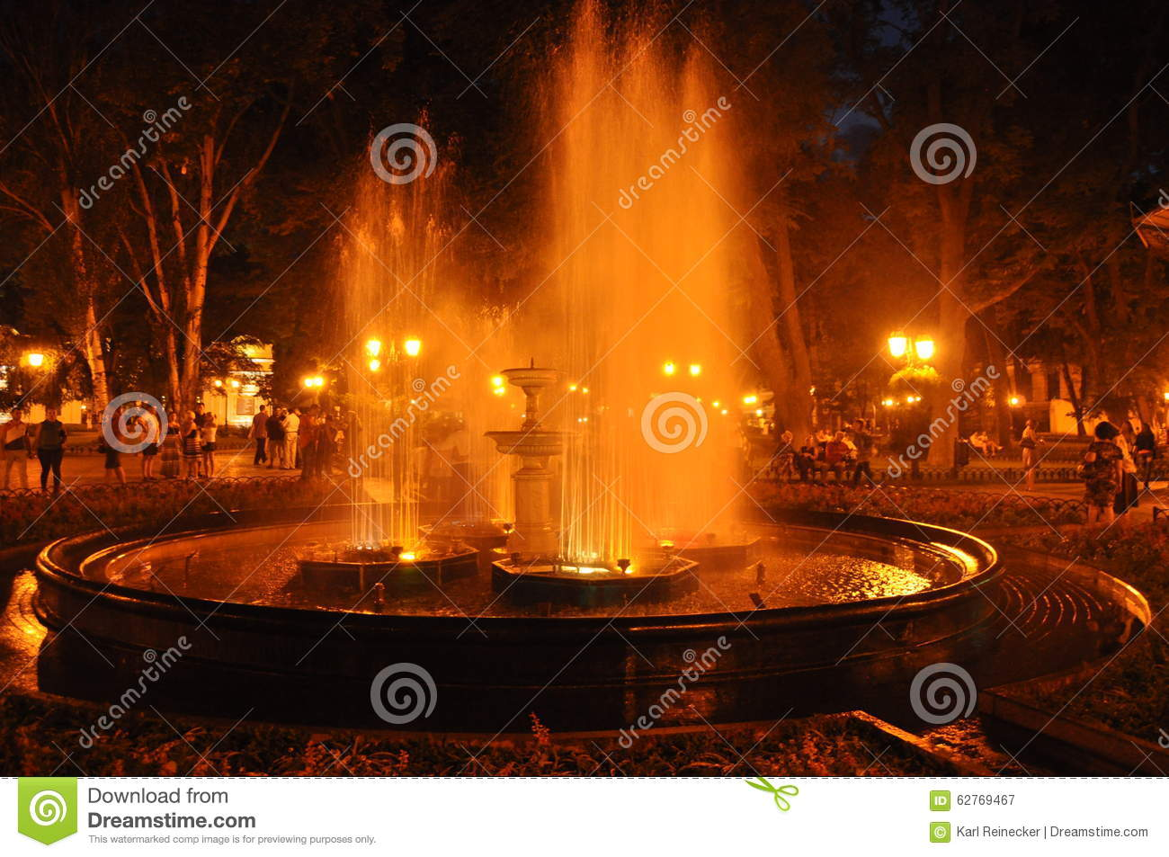 Night Fountain in Odessa, Ukraine