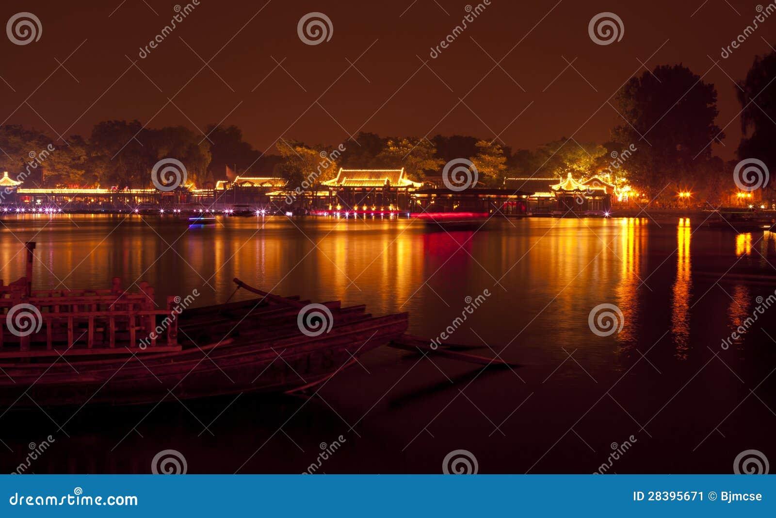 Night houhai beijing china