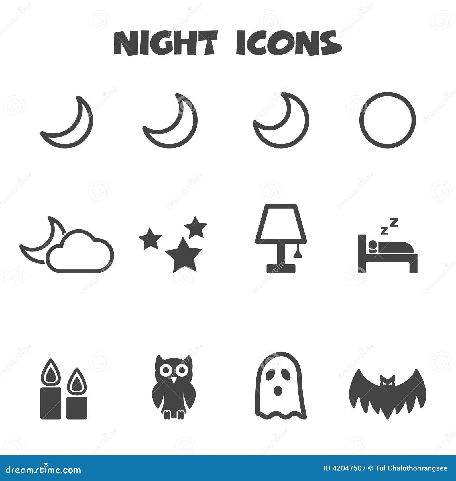 Night icons stock vector. Illustration of orbit ...