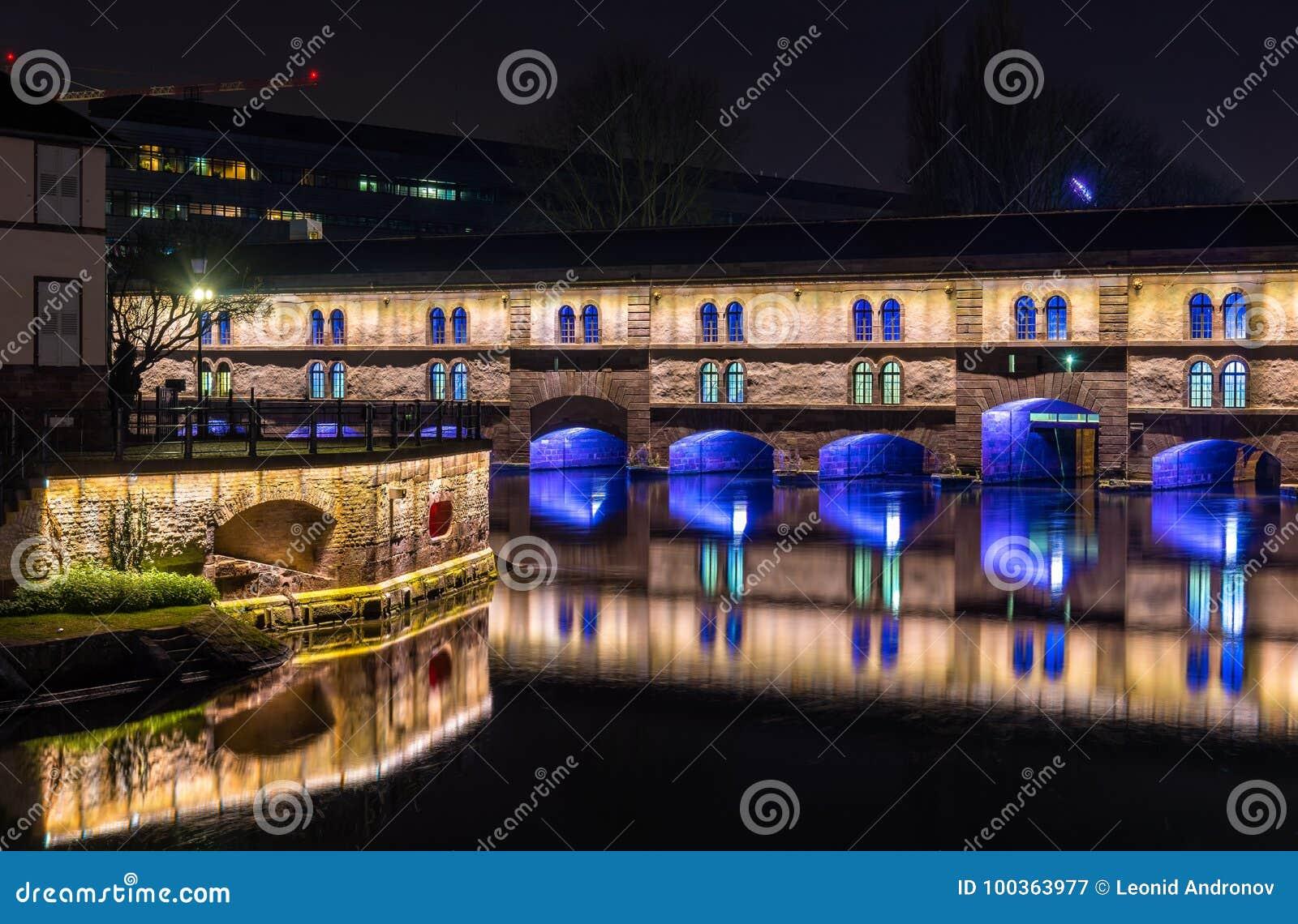 Night illumination of Barrage Vauban in Strasbourg, France