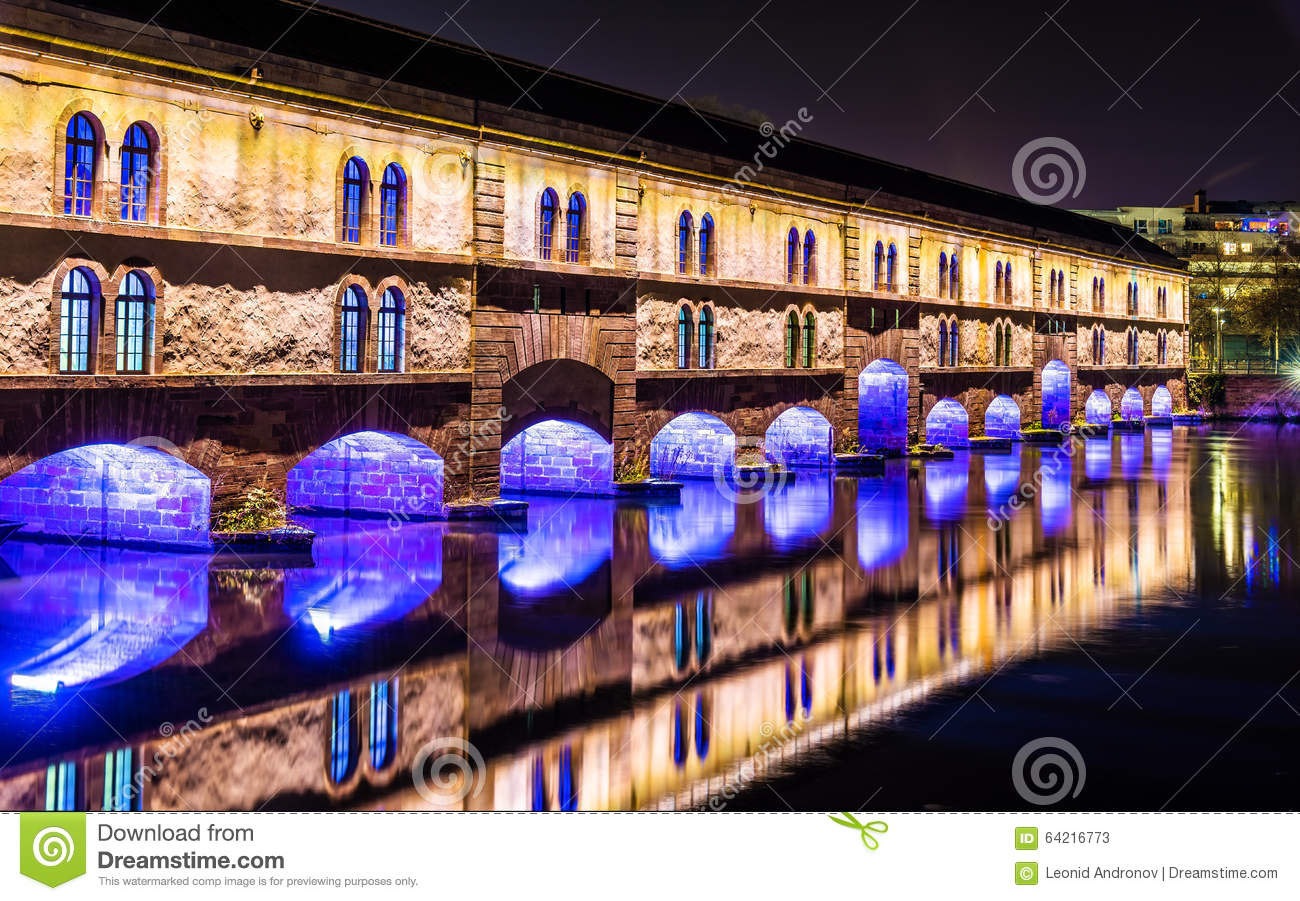 Night illumination of Barrage Vauban (Vauban weir) in Strasbourg