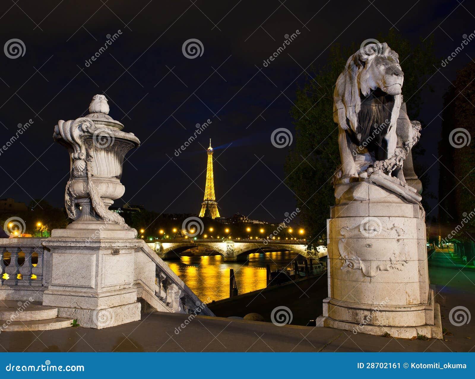 Night illumination on the bridge of Alexander III. Paris, France