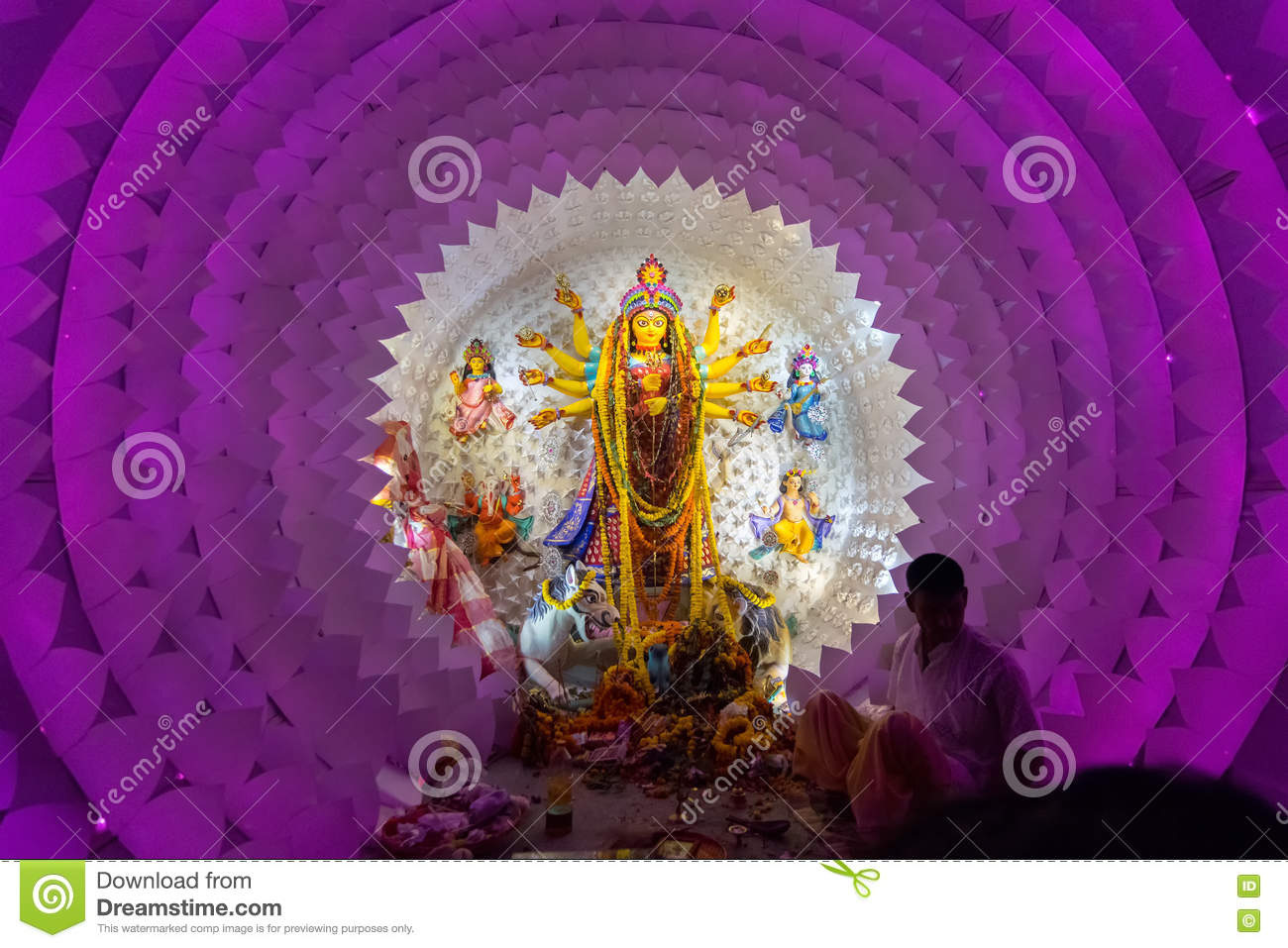 Night image of decorated durga puja pandal kolkata west bengal night image of decorated durga puja pandal kolkata west bengal india thecheapjerseys Images