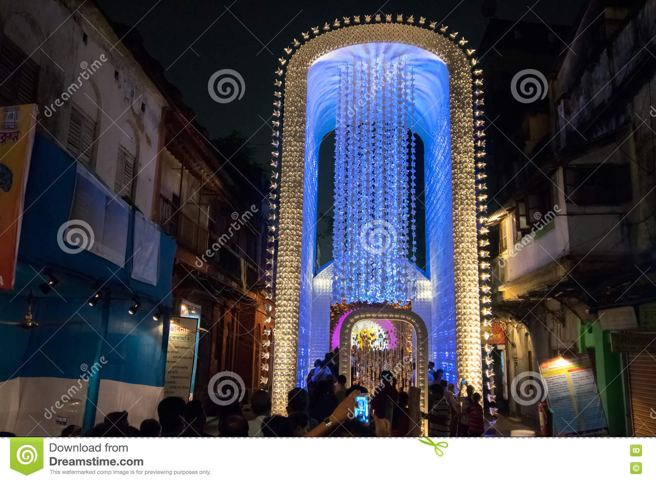 Night image of decorated durga puja pandal kolkata west bengal night image of decorated durga puja pandal kolkata west bengal india dussera ceremony thecheapjerseys Images