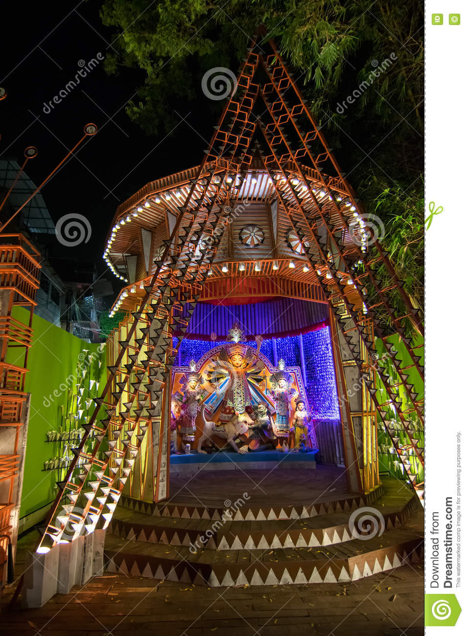 Night image of durga puja pandal kolkata west bengal india night image of durga puja pandal kolkata west bengal india color celebration thecheapjerseys Images