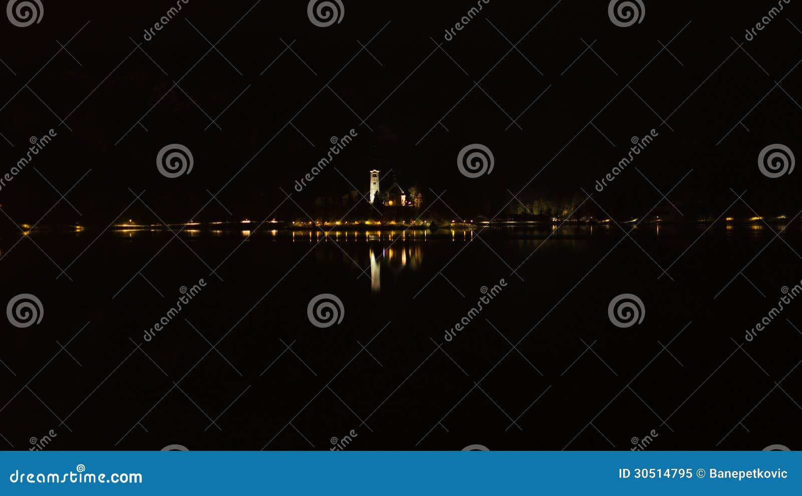 Night On A Lake Stock Image Image Of Horizon Water 30514795