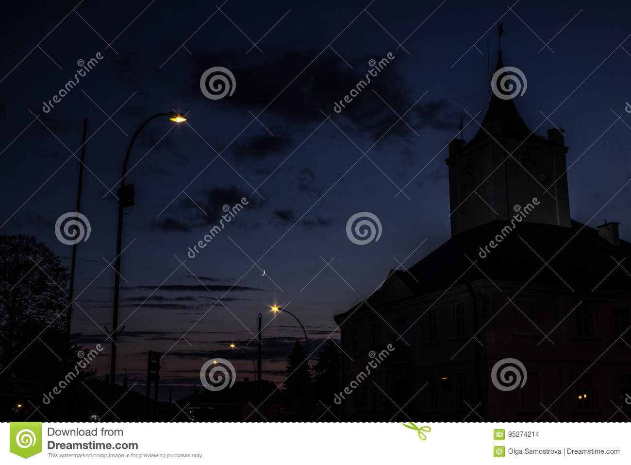 Night landscape, against the background of the city and trees at sunset. Nature.