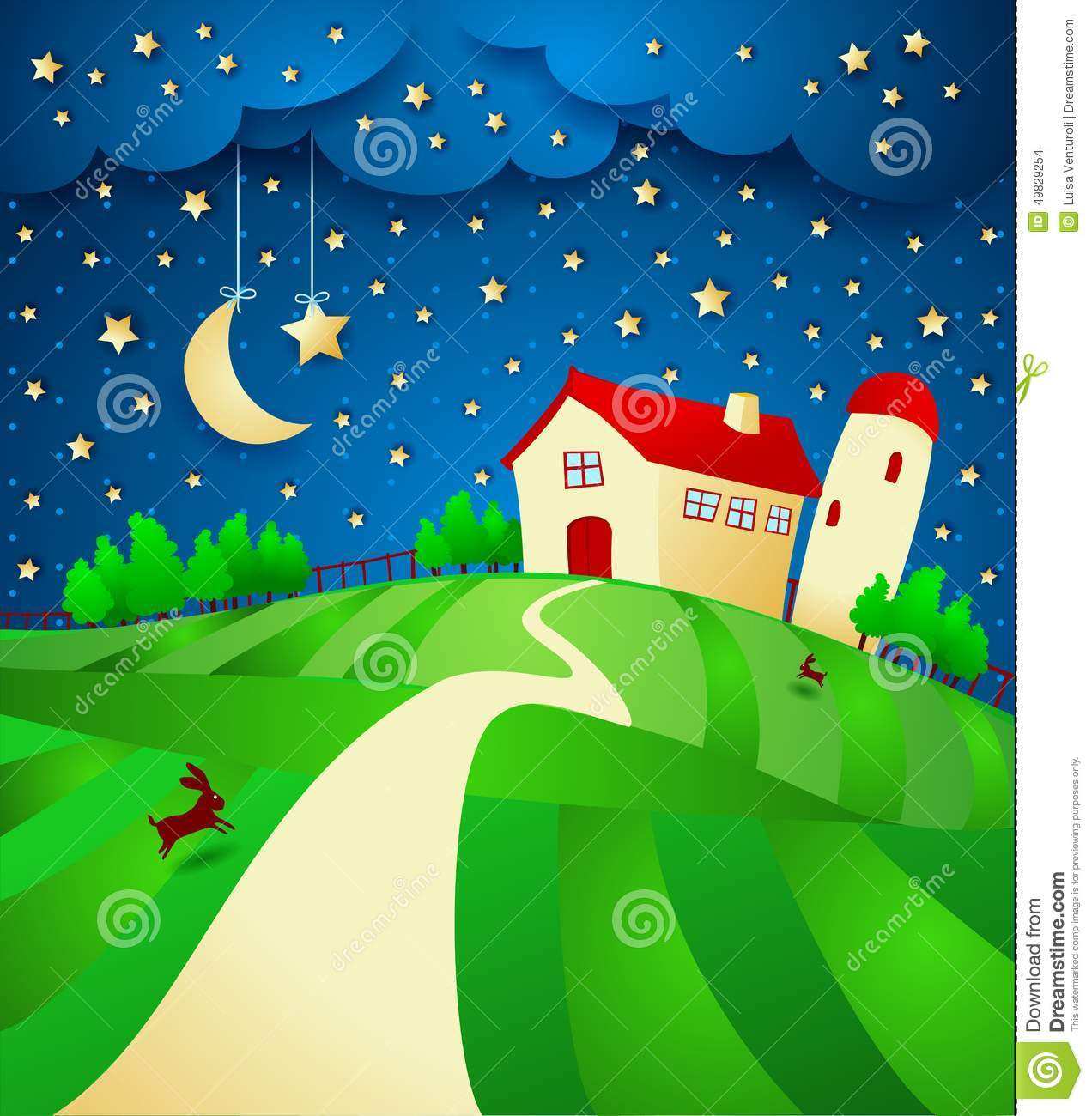 Night Landscape With Farm And Starry Sky Stock Vector - Illustration ... for Farm Landscape Clip Art  279cpg