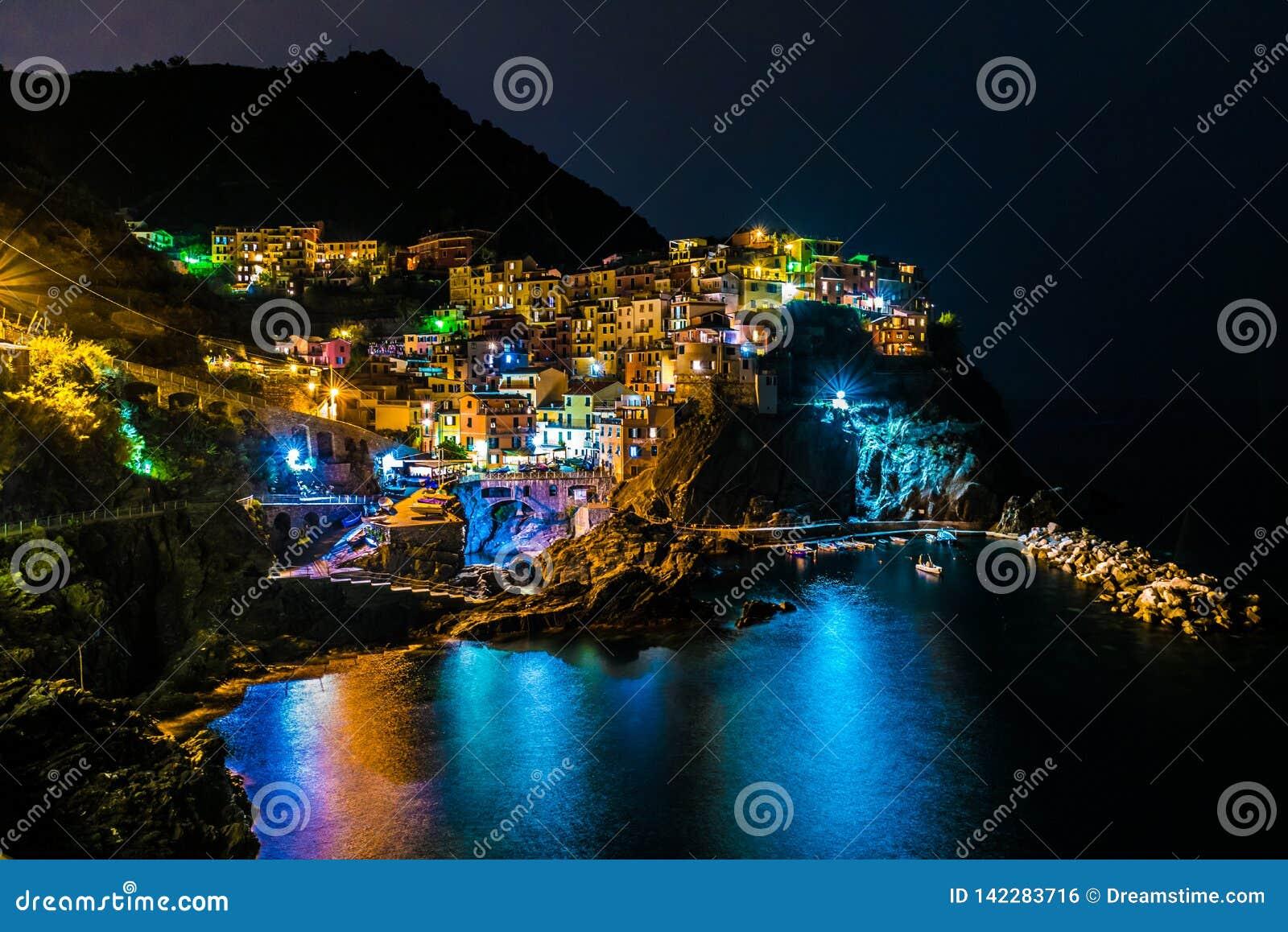 Night Landscape in Manarola Cinque Terre Italy