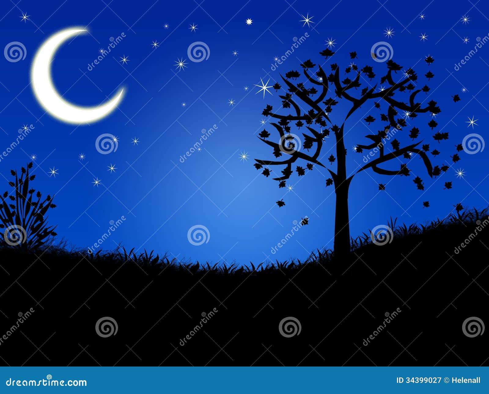 Night Landscape Stock Illustration Image Of Pattern