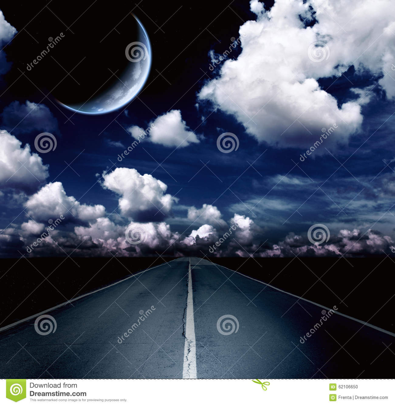 Night landscape with road, clouds and the moon
