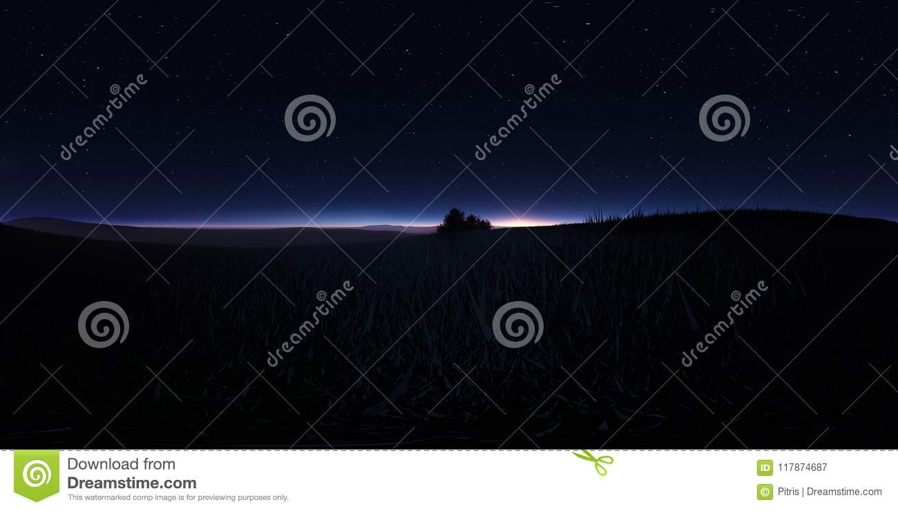 Night Landscape With Stars And The Full Moon  Panorama, Environment