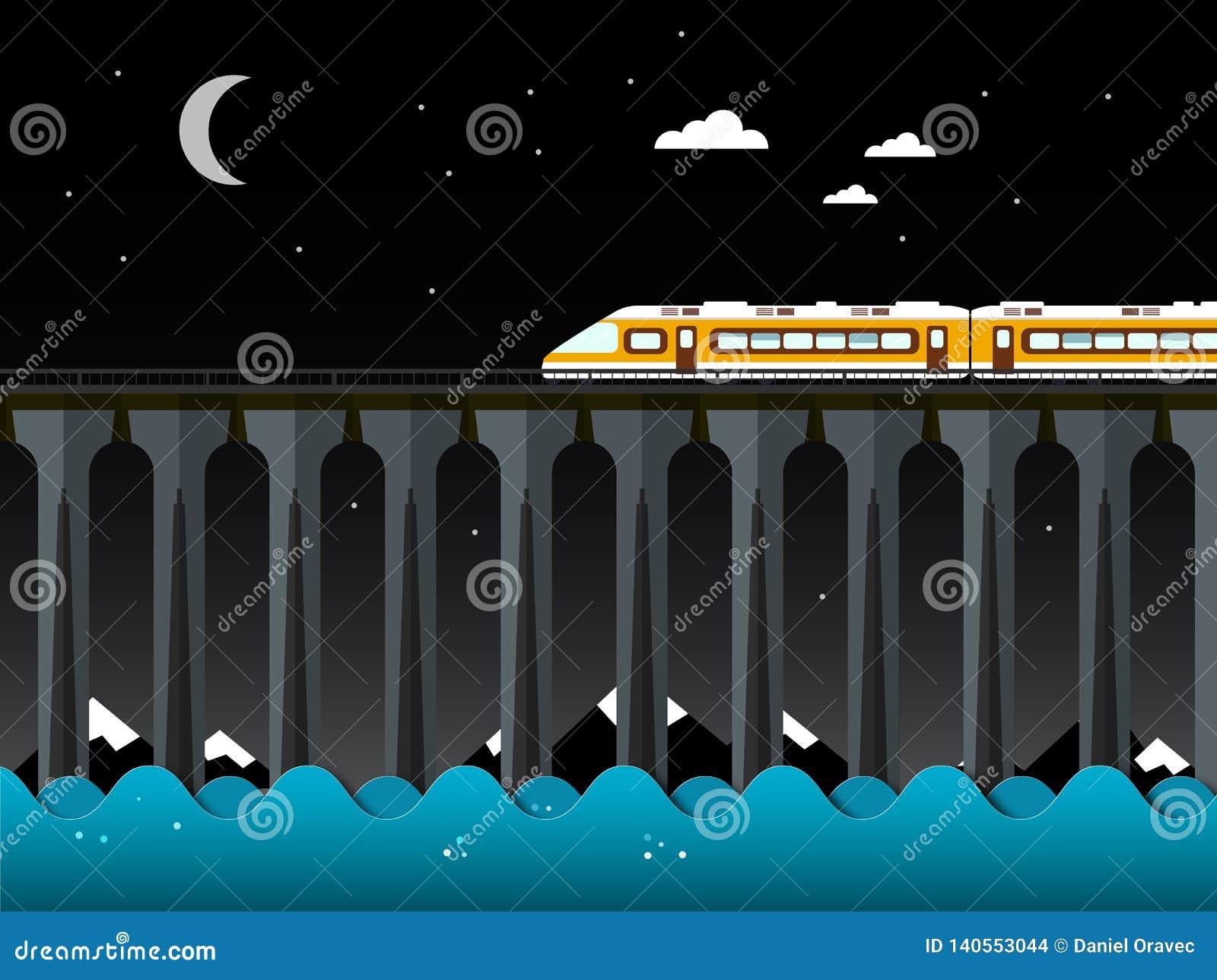Night Landscape with Train and Bridge over the Sea