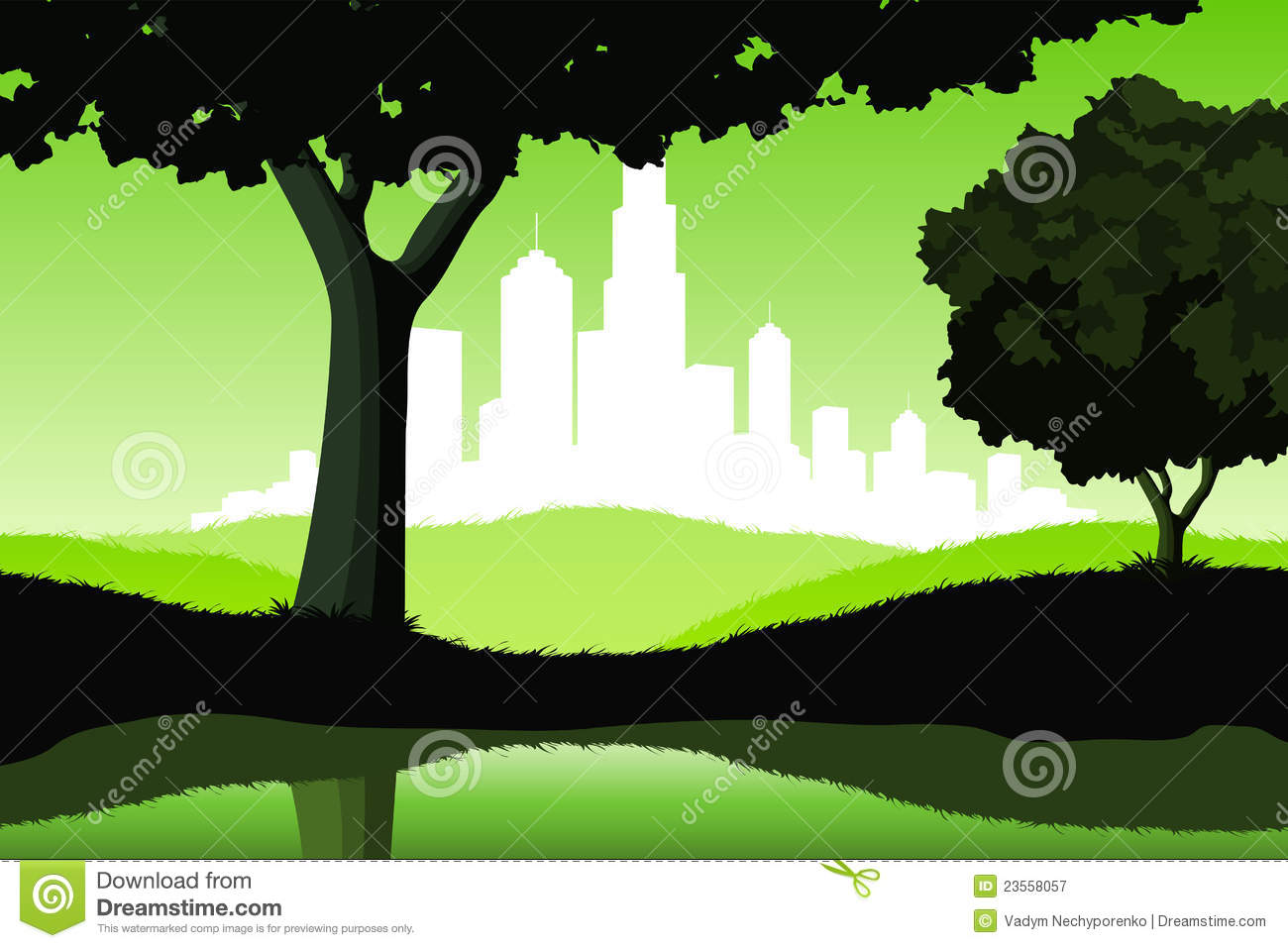 Night Landscape With Trees And City Silhouette Royalty
