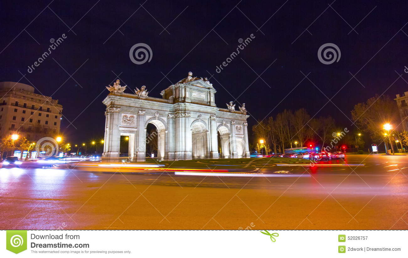 Night Light Madrid Arch De Triumph Traffic Panorama 4k Time Lapse Spain Stock Video Video Of Famous Square 52026757