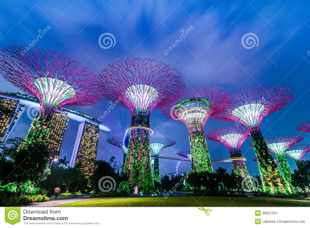 Night Light Show At Supertree Groveis In Singapore Stock Image Image: 38327347
