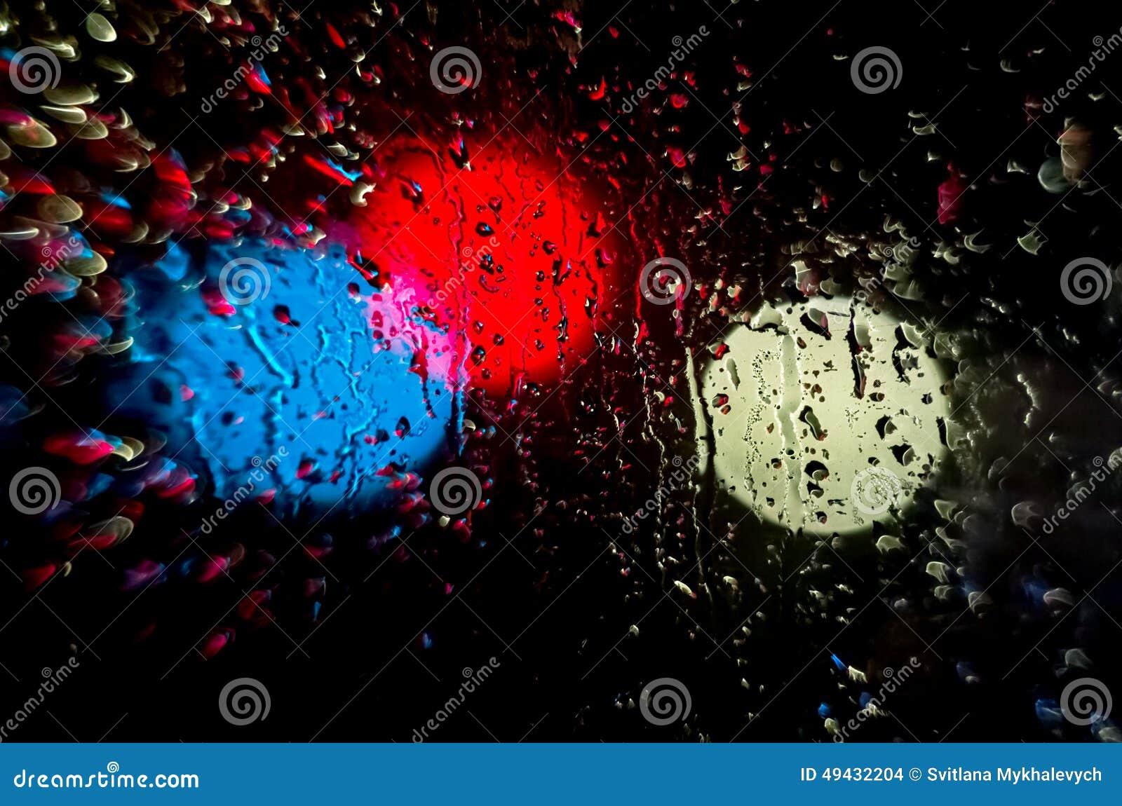 Night lights and rain