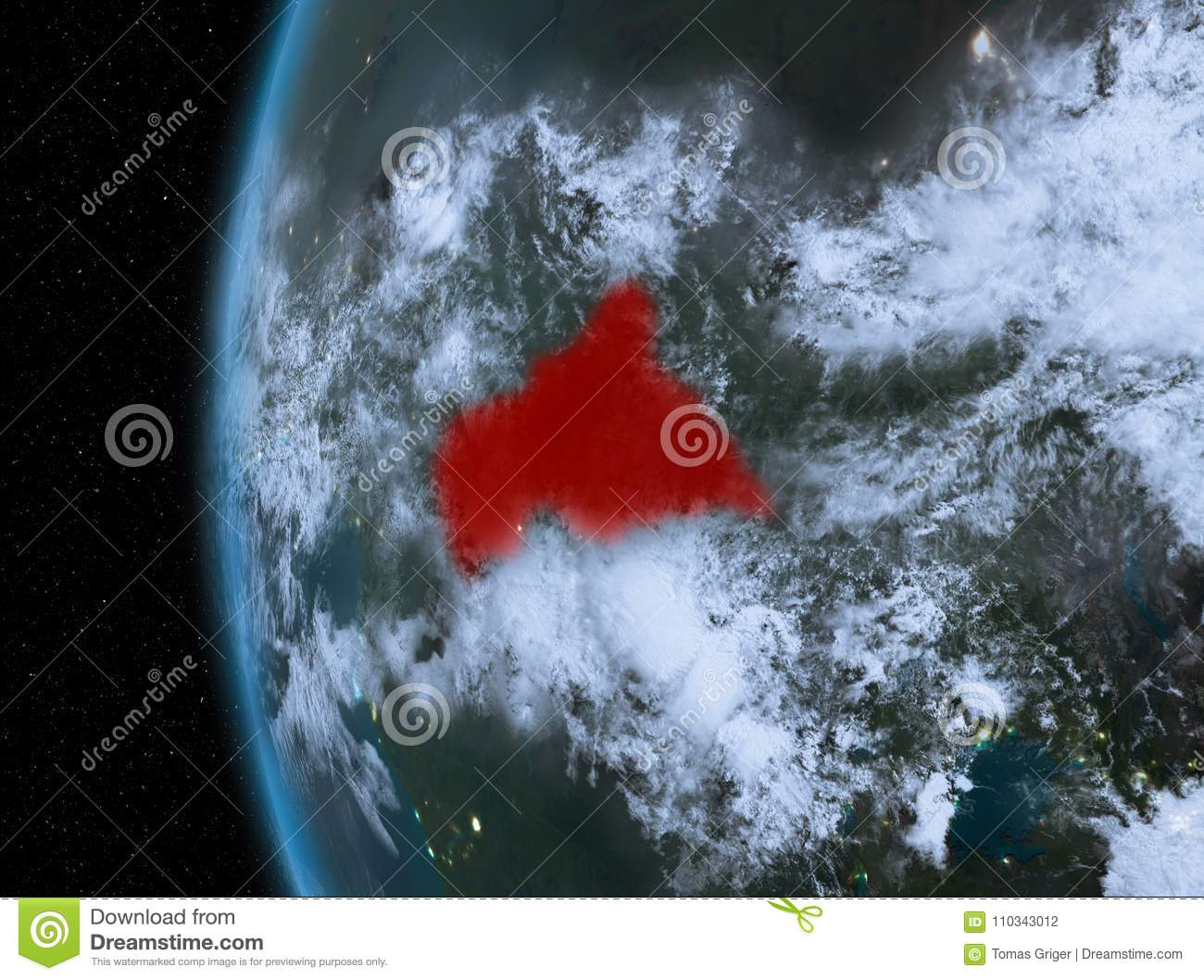 Map Of Africa From Space.Central Africa In Red At Night Stock Illustration Illustration Of