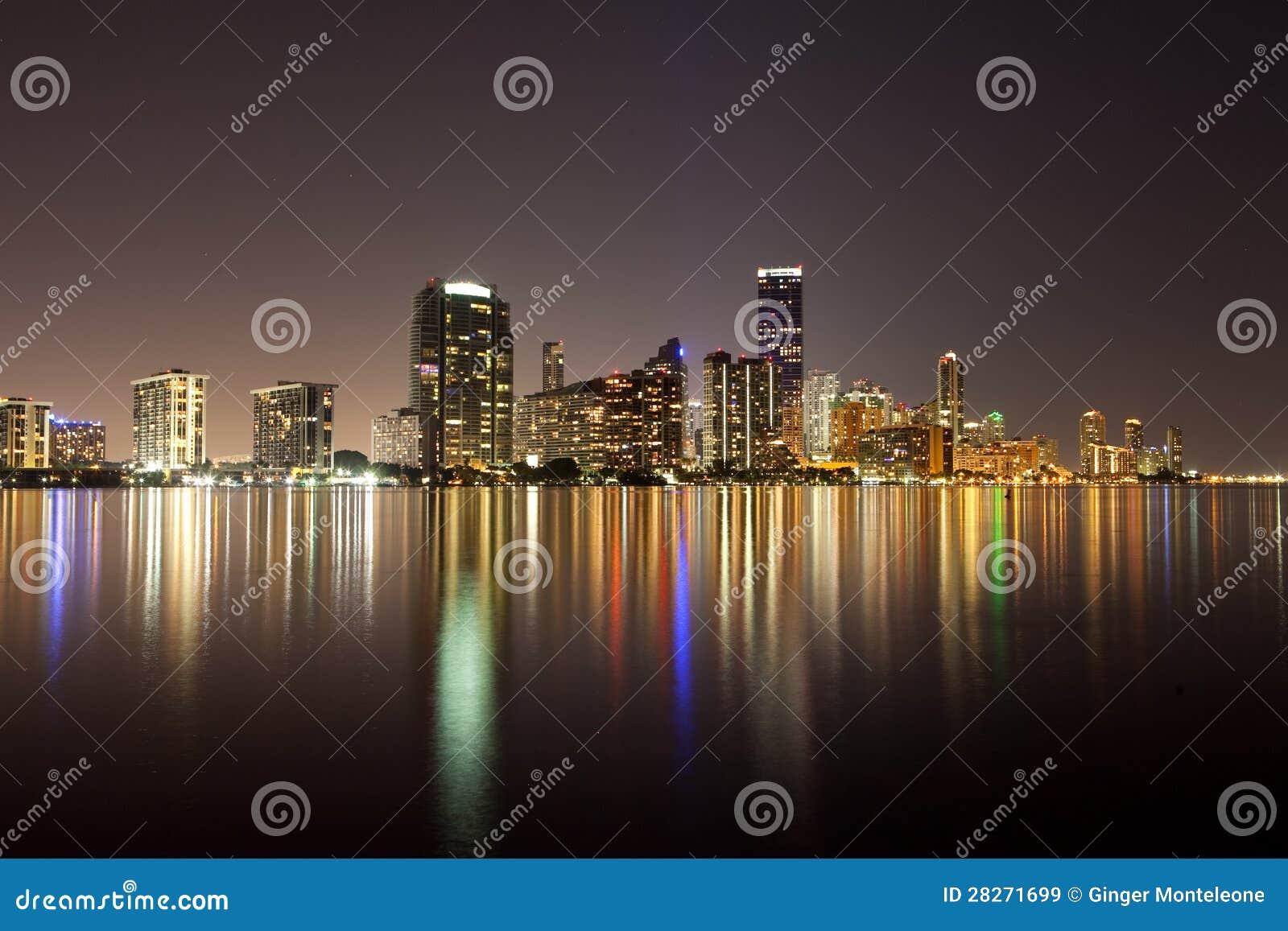 night miami skyline stock image  image of shore  ocean