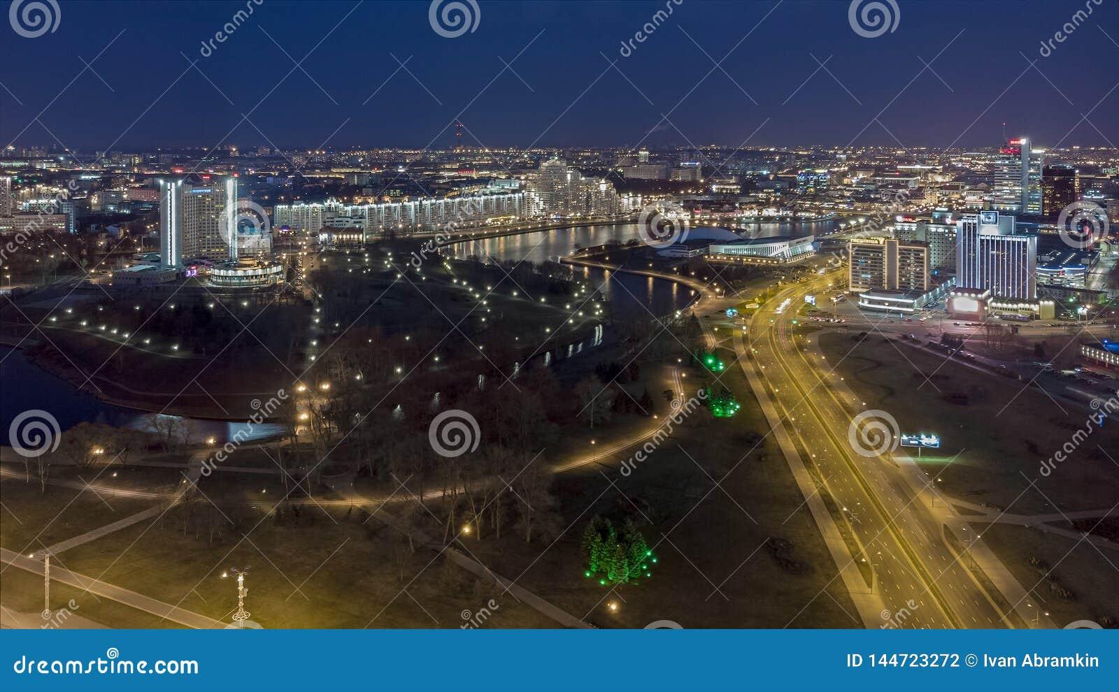 Night Minsk, Belarus. Drone aerial photo