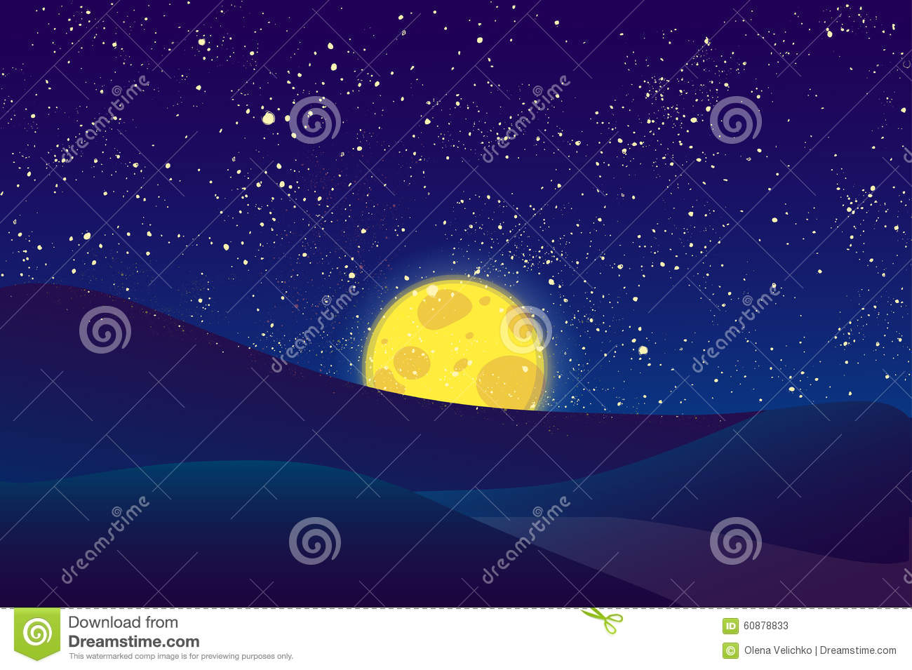 Night Moon, Shining Stars On Dark Blue Sky. Stock ...