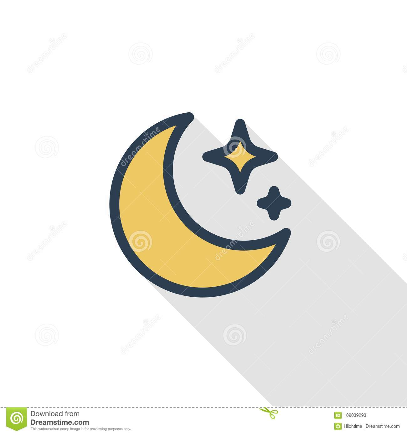 Night Moon And Star Thin Line Flat Color Icon Linear Vector Symbol