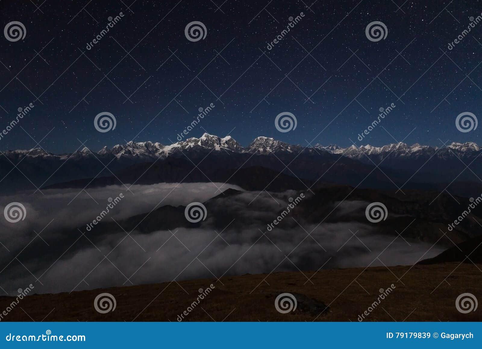 Night mountain landscape on a starry night.