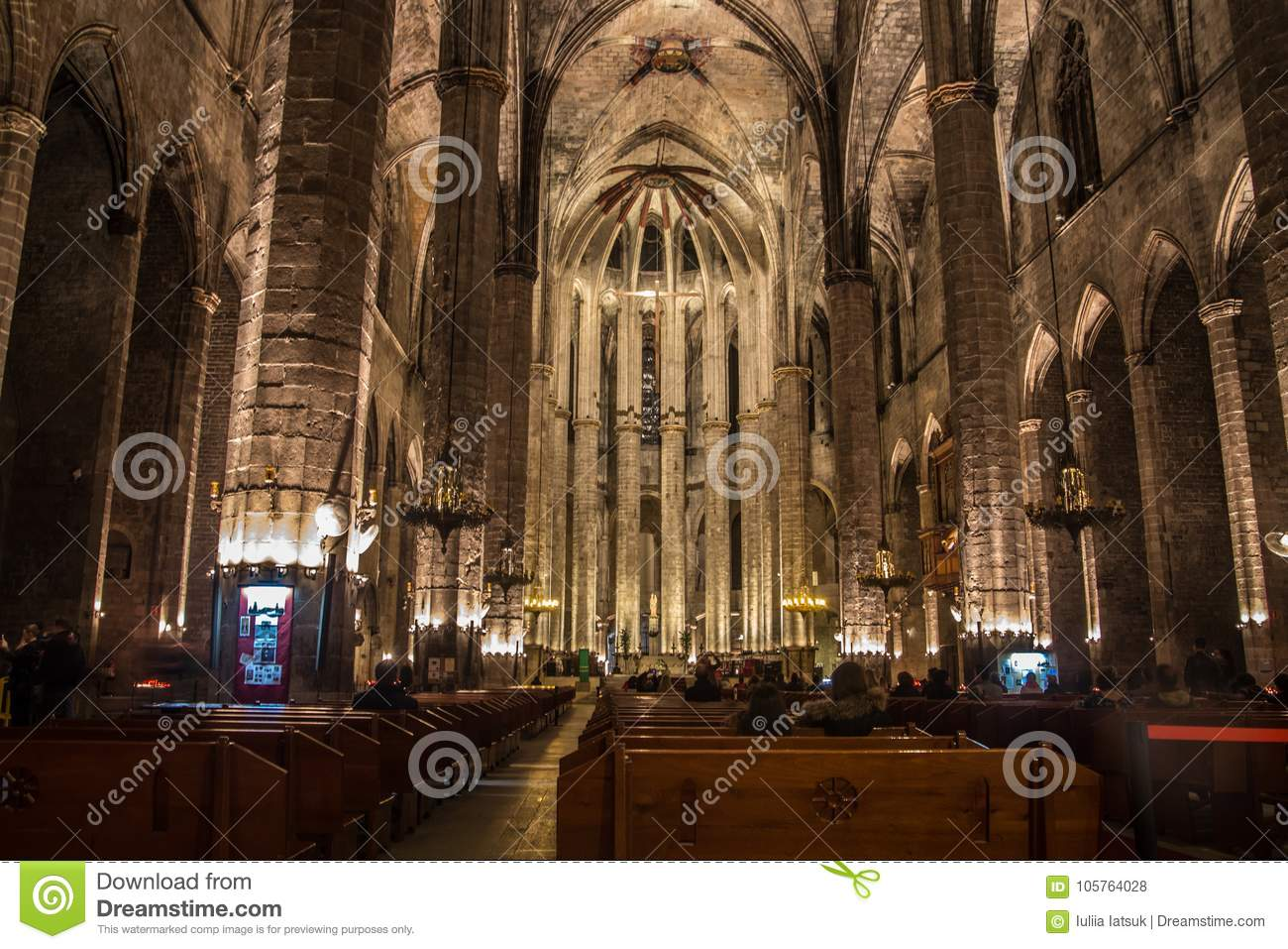 Download Night Panorama Inside The Gothic Church Of Santa Maria Del Mar In Ribera District