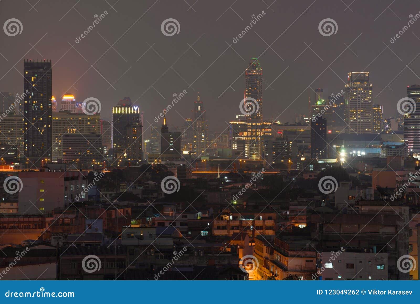 Night Panorama Of Today Bangkok Editorial Photography - Image of modern,  asia: 123049262