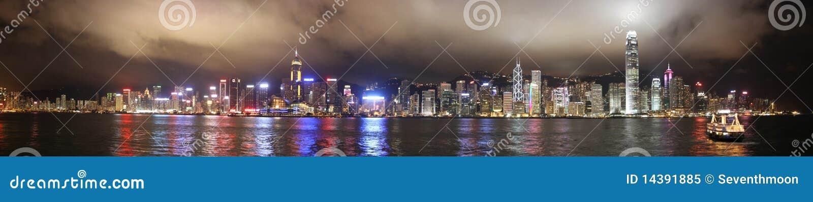 Night Panorama of Victoria Harbor Hong Kong