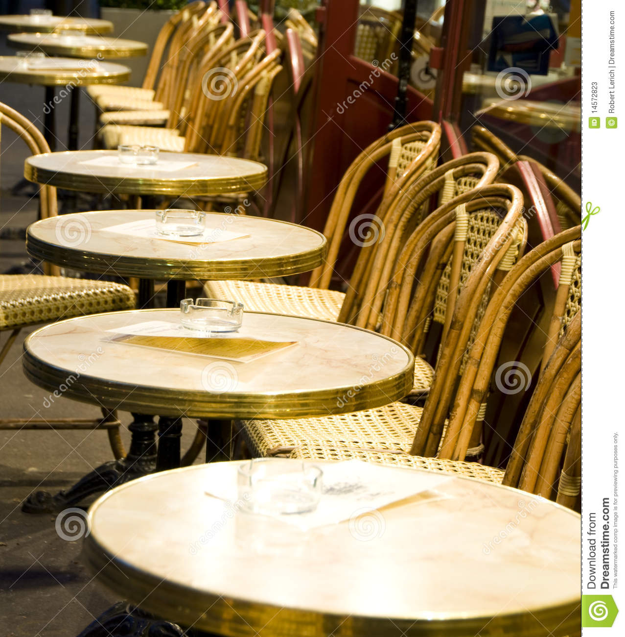 Night Paris France Cafe Tables Chairs