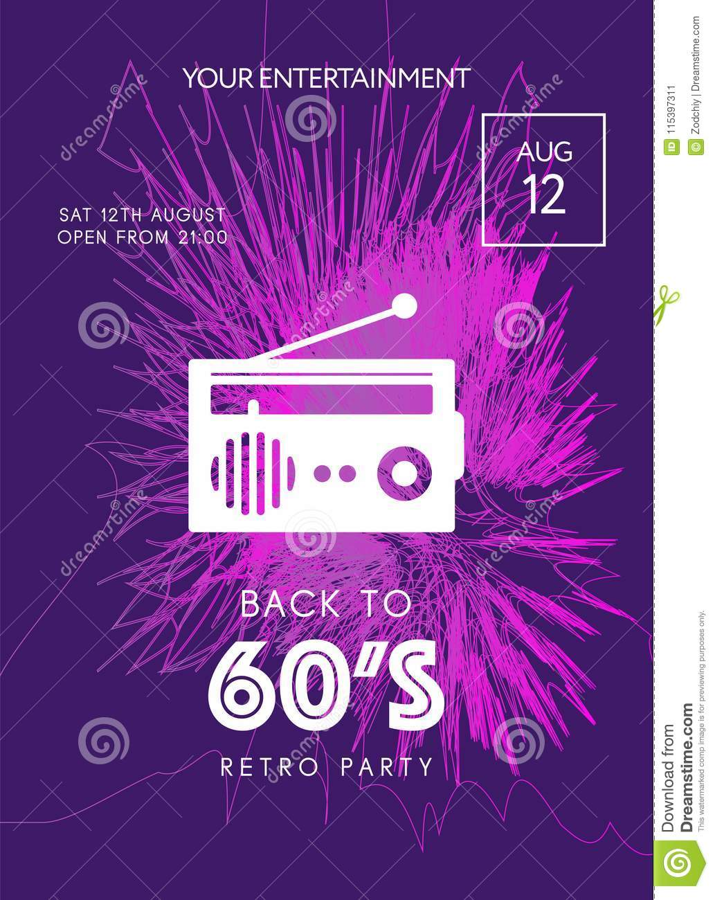 Night Party Banner Template Stock Illustration Illustration Of
