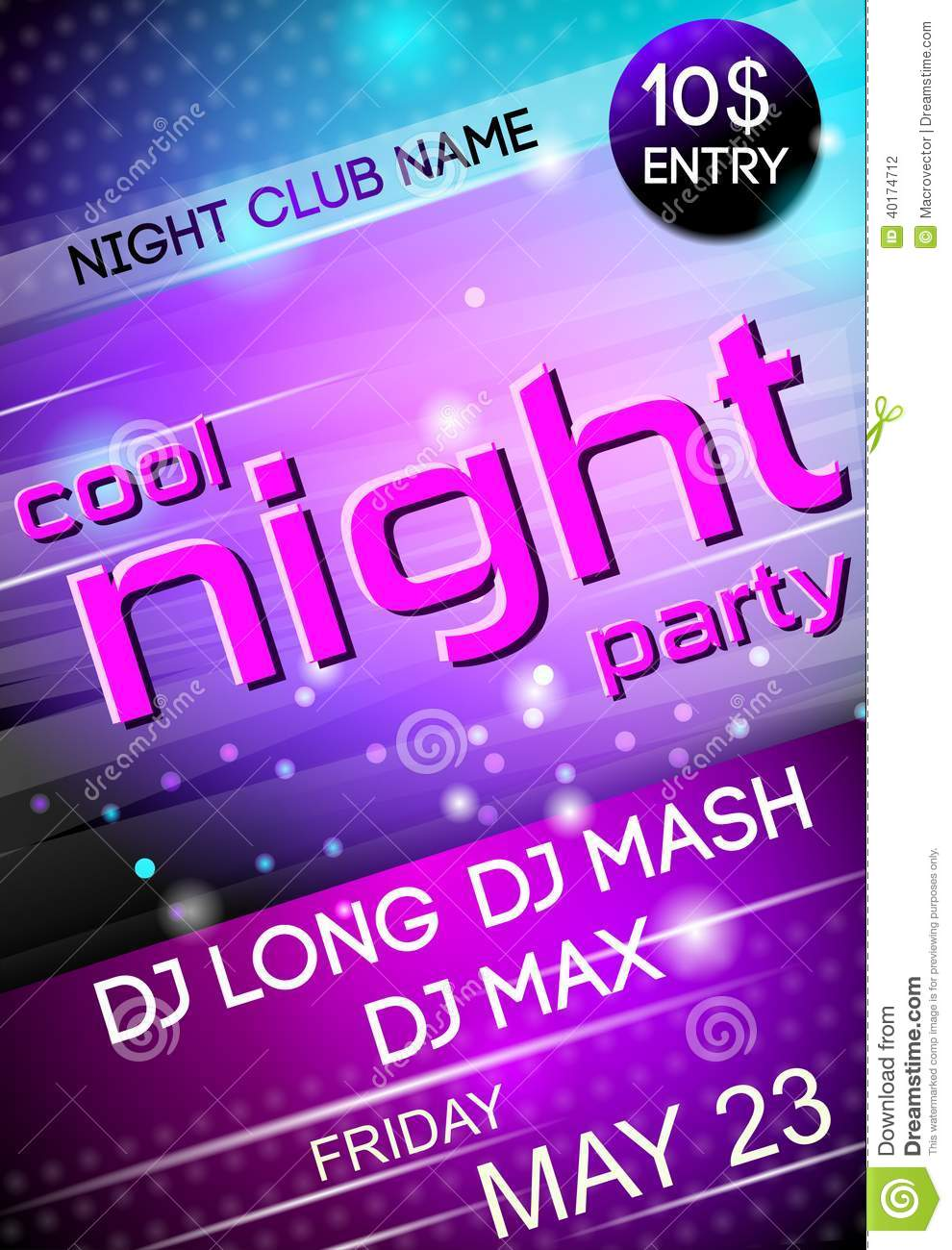 Night Party Poster Stock Vector - Image: 40174712