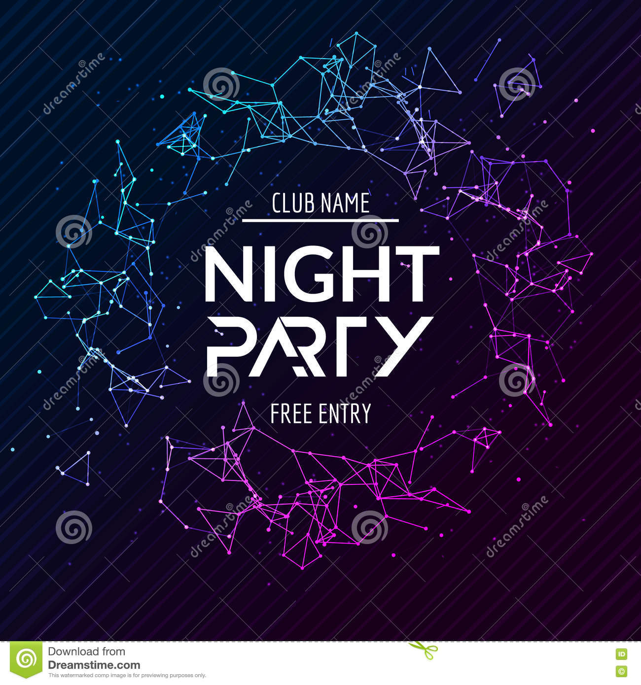 Night Party Poster. Shiny Banner Club Disco. Dj Dance ...
