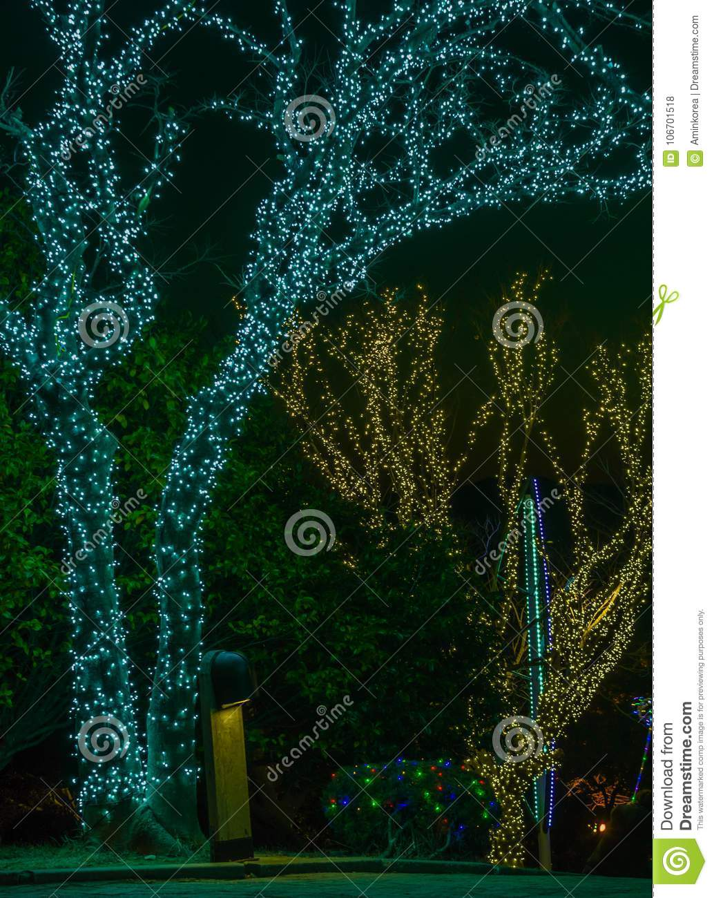 download christmas lights on trees stock photo image of creative 106701518