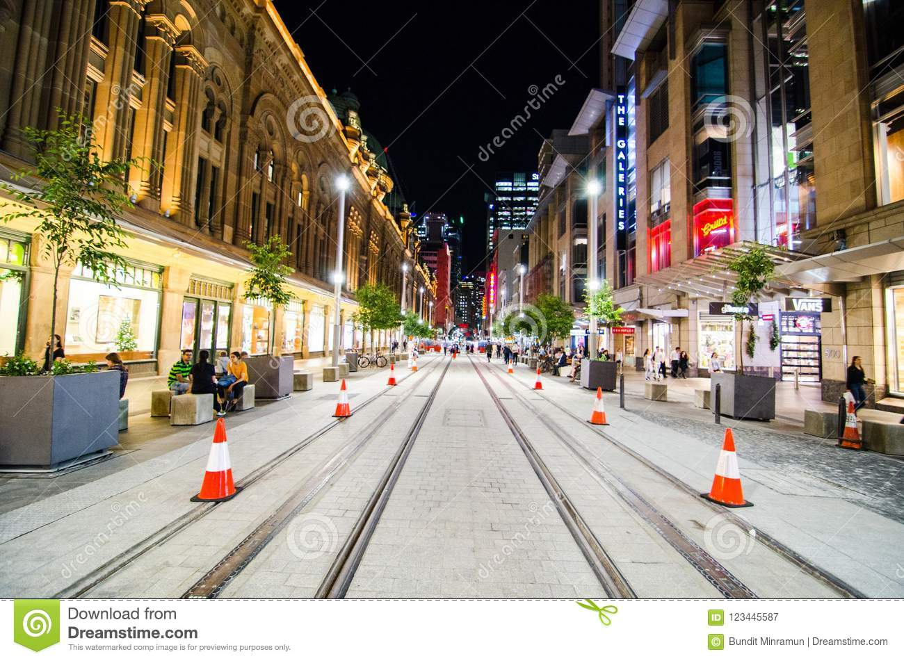 Night Photography Of Sydney Georges Street With Tramway  Editorial