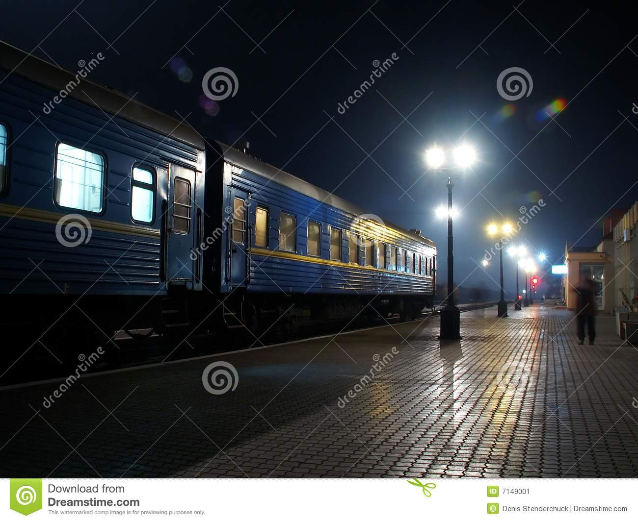 Download Night Rail-Road Station stock image. Image of train, silent - 7149001