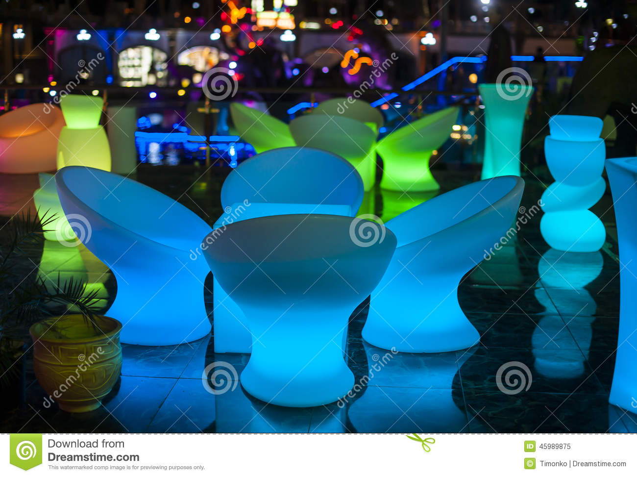 Glow Furniture Night Restaurant Glowing Furniture Light Stock Photo Image