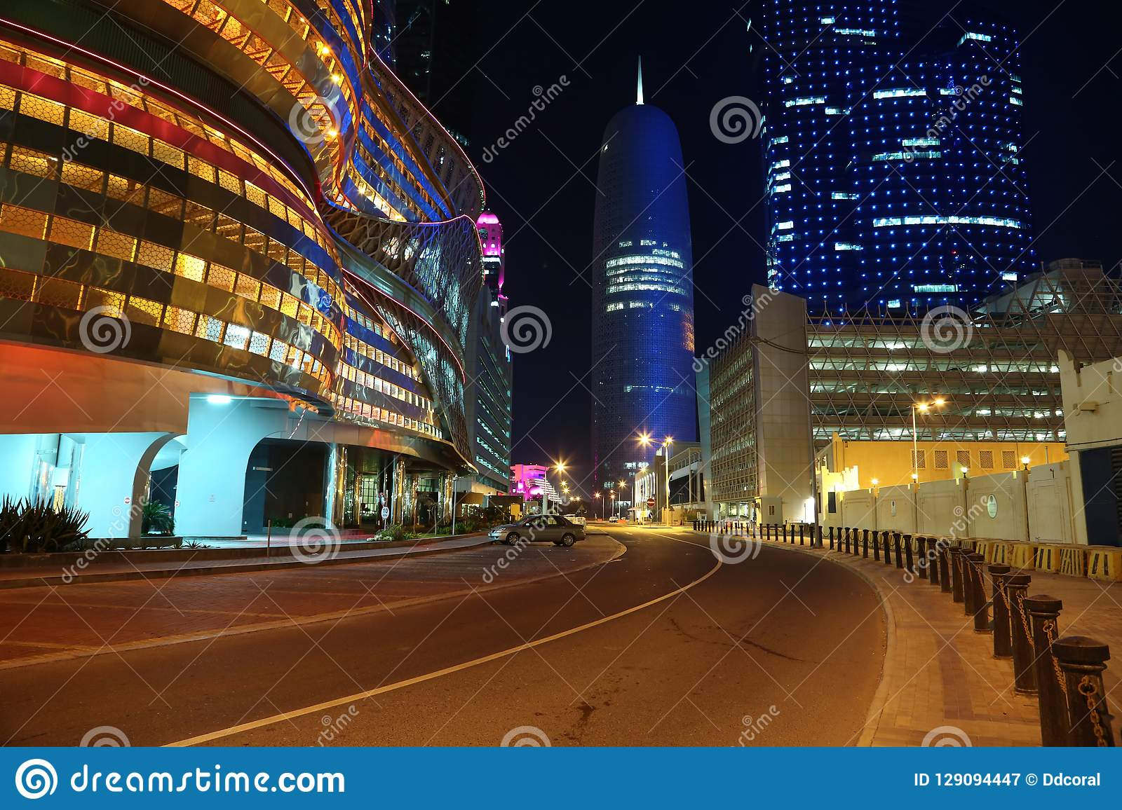 Night Road Traffic In Financial Centre, Doha, Qatar