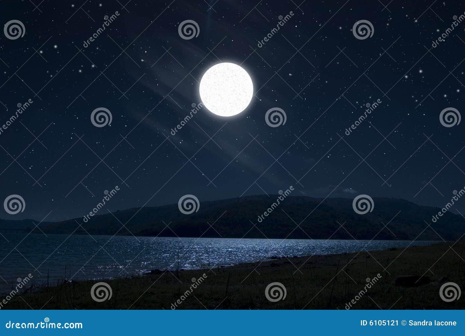 Dark night full moon